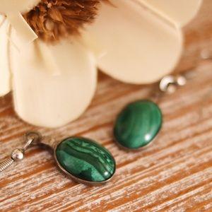 Sterling Silver Malachite Dangle Earrings